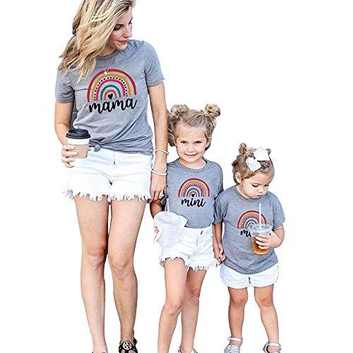 Conjuntos a Juego con Estampado de arcoíris para mamá y yo, Camisas para el día de la Madre, Camiseta de Manga Corta para Madre, Hija, Hijo, Conjuntos
