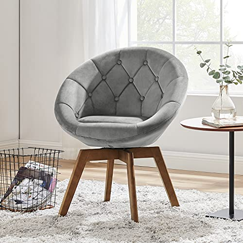 Volans Mid Century Modern Velvet Tufted Round Back Upholstered Swivel Accent Chair Grey with Wood Legs for Living Room Bedroom Vanity Desk
