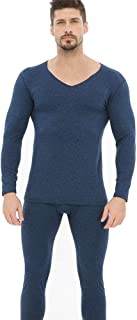 Yamyannie-Clothing Men's Thermal Underwear Long Set Base Layer Top And Bottom (Color : Blue, Size : XXL)