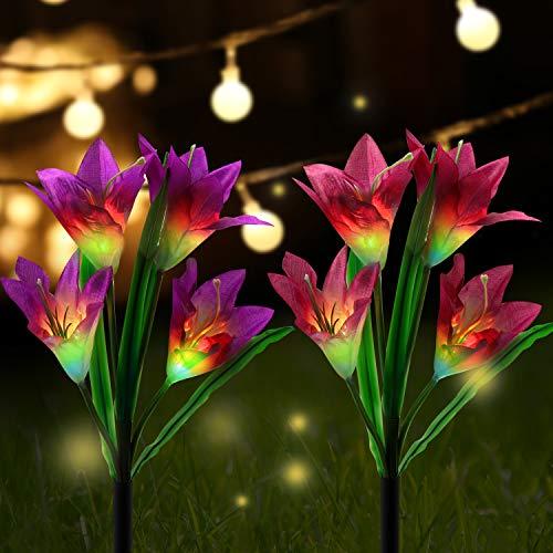 AYPOW Solarleuchte Garten,Lvyleaf 2 Packung Solar Garten Lampen Lilie Blumen Solarlicht mit Farbwechsel LED Lampen, Außen Dekoration Lichter für den Garten/Rasen/Feld/Terrasse/Weg (lila und rot)