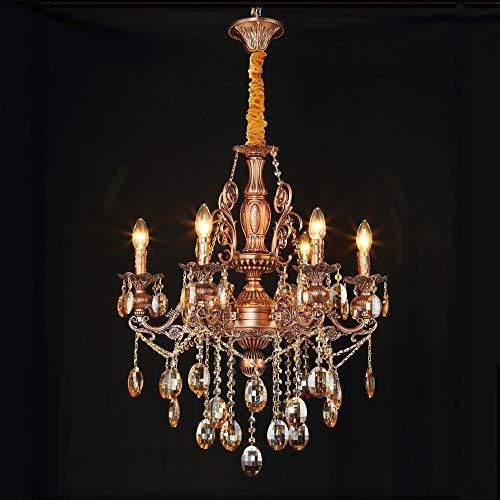 Yangmanini Araña de cristal Lámpara LED de doble cristal Lámpara de aleación de zinc Luz de la vela de la habitación Lámpara de la sala de estar europea 5 cabezas Rojo bronce