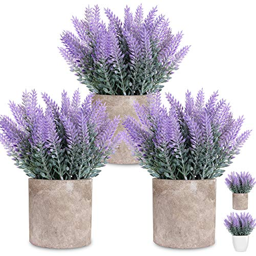 LELEE Artificial Lavender Plants Fake Potted Flowers Plants, 3 Pack Small Lavender Potted Faux Decorative Plant with Pulp Pot for Home Decor, Gift, Office, Desk, Shelf, Table Decoration