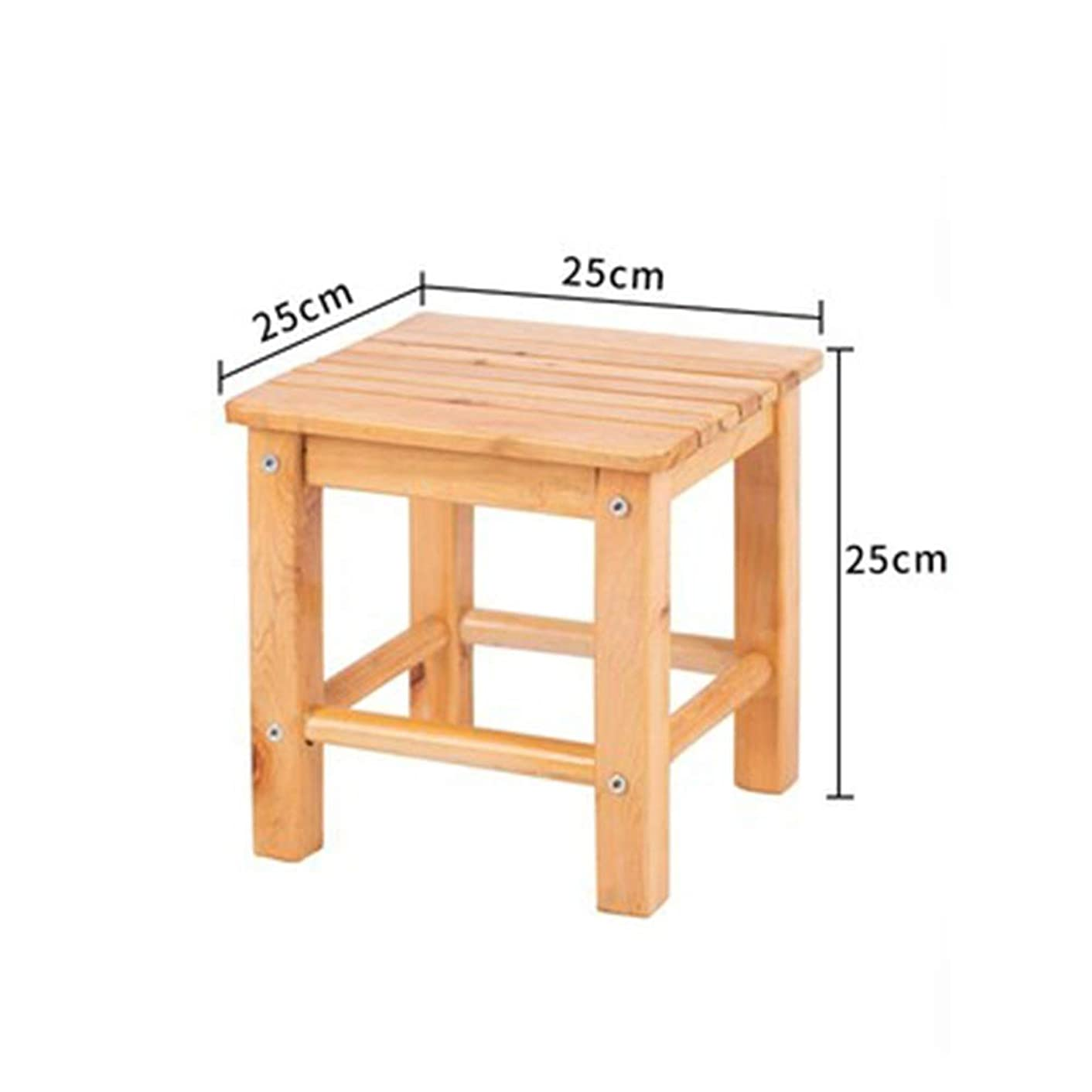 WPQW Wooden Bench- Solid Wood Stool Creative Small Bench Children's Stool Fashion Low Stool Square Stool Wooden Stool - Wood Stool 2506 (Color : C)
