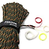 PSKOOK Survival Paracord Parachute Fire Cord Survival Ropes Red Tinder Cord PE Fishing Line Cotton Thread 7 Strands Outdoor 20, 25, 100 Feet (Army Green Camo, 100)