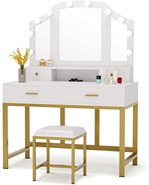 """Tribesigns 47"""" Large Vanity Set with Tri-Folding Lighted Mirror, Elegant Makeup Table Vanity Dresser with 4 Drawers, 10 LED L"""