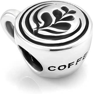 925 Sterling Silver Latte Art Coffee Cup Bead Charm Fit Major Brand Bracelet