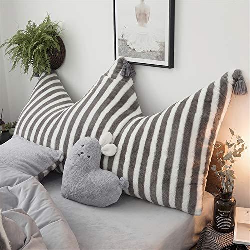Liveinu Krone Fleece Kopfteil Kissen mit Pompons Bett Rückenkissen Rückenlehne Palettensofa Kissen Für Bett Sofa Couch Waschbar Dekorationskissen Streifen Grau 80x150cm