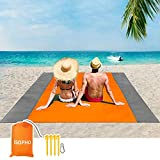 3. ISOPHO Beach Blanket, 79''×83'' Picnic Blankets Waterproof Sandproof for 4-7 Adults, Oversized Lightweight Beach Mat, Portable Picnic Mat, Sand Proof Mat for Travel, Camping, Hiking, Packable w/Bag