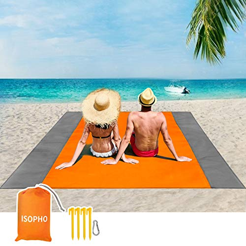 ISOPHO Beach Blanket, 79''×83'' Picnic Blankets Waterproof Sandproof for 4-7 Adults, Oversized...