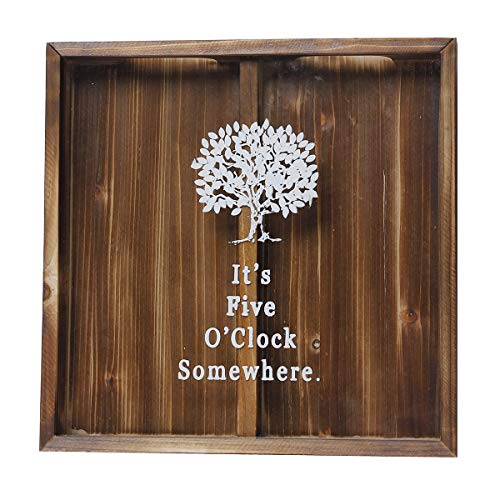 Wine Cork Shadow Box, Beer Cap Holder Shadowbox Display, Bottle Cap Collector, Wall Mounted or Free Standing, Rustic Stained Wood (It's Five O'Clock Somewhere, 12.8'' X 12.8'')