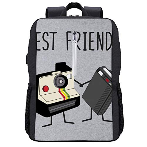 Best Friends Fun Vintage Camera and Retro Beeper Backpack Daypack Bookbag Laptop School Bag with USB Charging Port