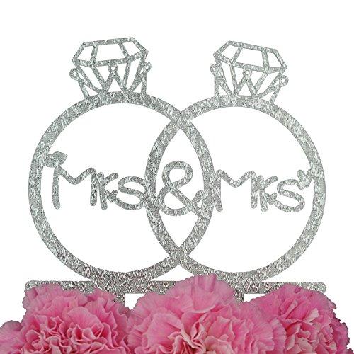 LOVENJOY Gift Box Pack Lesbian Mrs and Mrs in Diamond Rings Same Sex Monogram Wedding Engagement Cake Topper (5.3-inch, Silver Glitter)
