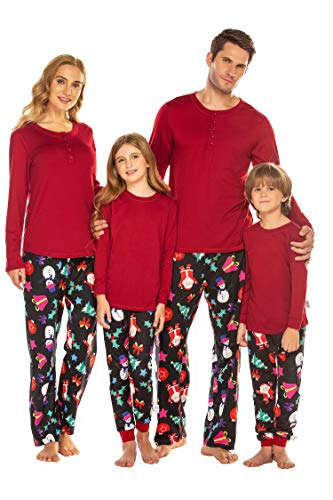 Ekouaer Christmas Family Pajamas Matching Sets,Classic Plaid Xmas Clothes Soft Outfit Sleepwear