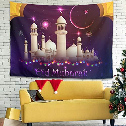 Lind88 Lasser Bairam Muster Prints Wandbehang Romantische Vorhang klein – Iftar für Schlafsaal Deko, weiß, 59x51 inch
