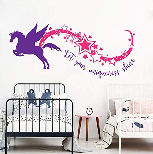 Wall Stickers, Colorful Cartoon Horse Art Decal, Bathroom Bedroom Living Home Decorations Friend Gift, Pvc Vinyl Diy Removable/102x46cm