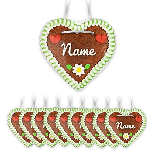 Tischkarten aus individuell beschrifteten Lebkuchenherzen - 10 Stück | online mit Namen bestellen | Farbe: grün-weiß | ideal als Tischkarte für die Hochzeit | LEBKUCHEN-WELT