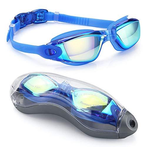 Kaimeilai Occhiali da nuoto per bambini, unisex, per il tempo libero, con cinghia regolabile, comfort professionale, senza perdite, protezione UV, anti appannamento, lenti dure (blu)