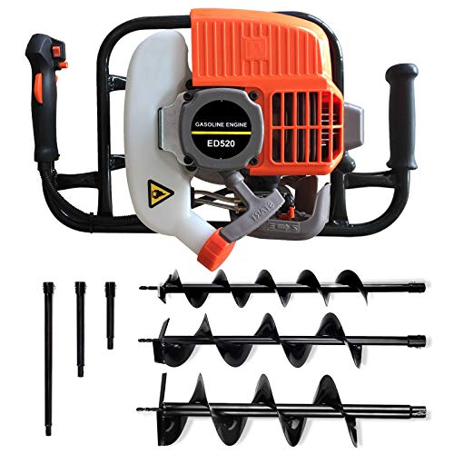 """Gas Auger Post Hole Digger 52CC 2 Stroke Earth Digger Gas Power Earth Auger with 3 Drill bits (4"""", 6"""" and 8"""") + 3 Extension Kits EPA (Subcontract delivery)"""