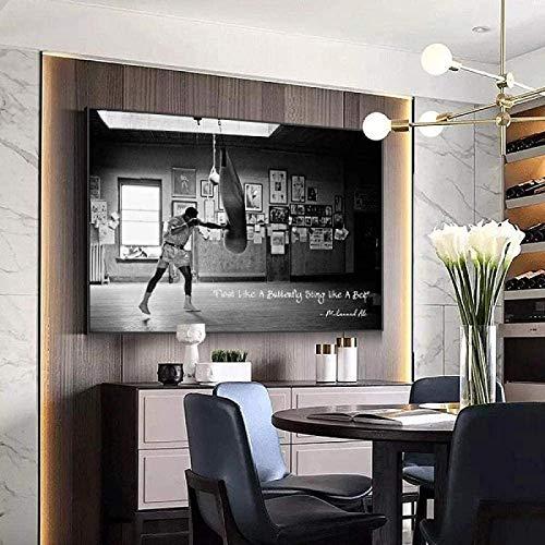 GKZJ Impresión de Arte Boxer golpeando un Saco de Boxeo Pintura Moderna sobre Lienzo Cuadros Carteles e Impresiones Imagen de Arte de Pared Decoración para el hogar 30x50cm sin Marco
