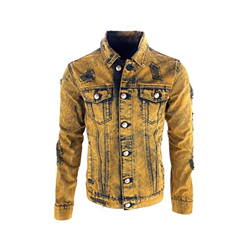 S-JACOL Men's Distressed Destroyed Trucker Denim Jacket (Rust Yellow, M)