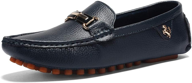 EGS-schuhe Herren Leder Freizeitschuhe England Wind Flat Peas Schuhe Driving Lazy Schuhe,Grille Schuhe (Farbe   Blau, Größe   43)