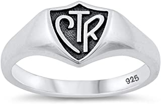 CTR Choose The Right Shield Unique Ring New .925 Sterling Silver Band Sizes 4-10