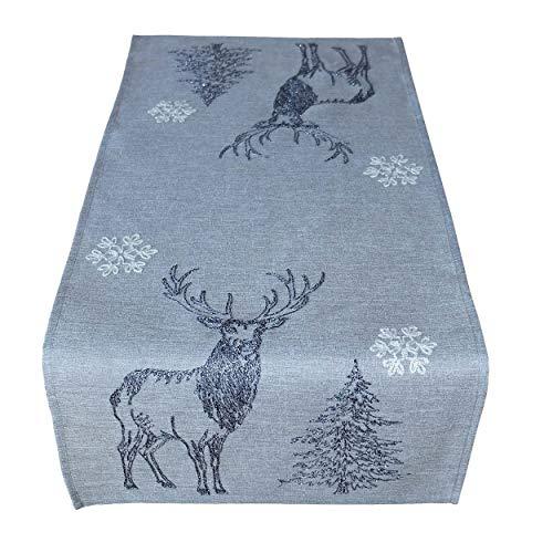 Raebel Tischläufer 40 x 140 cm Stickerei Elch Bäume Schneesterne grau weiß Silber Mitteldecke Weihnachten Deko Weihnachtstischdecke