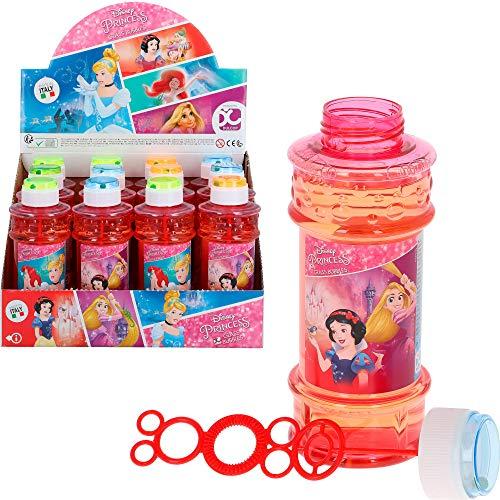 ColorBaby - Caja 12 pomperos jabón, botella pomperos Princesas Disney, 300 ml, pomperos infantiles, pomperos princesas, disney toy, juguete Disney, regalo cumpleaños niños