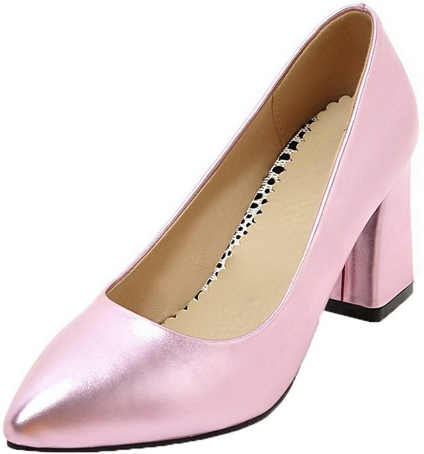 WeenFashion Women's PU Pointed Closed Toe High-Heels Pull-On Solid Pumps-shoes