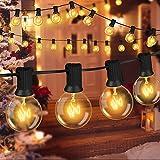 Cadena de Luces Exterior, G40 Bombillas Led Exterior 11M, Bombillas Exterior IP44 iIpermeable Para Bodas de Navidad Decoración Al Aire Libre Blanco Cálido (30 Bombillas Con 5 Bombillas de Repuesto)