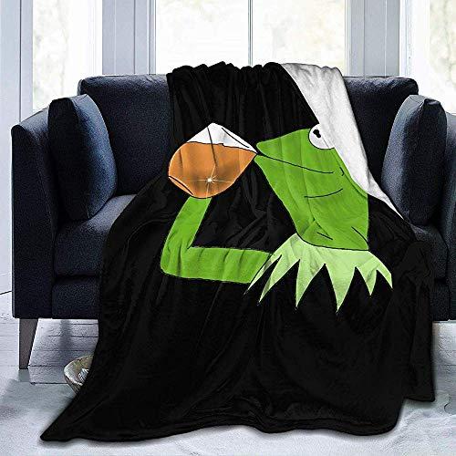 BLANKNTC micropluche gooi deken, flanel bank deken, zacht fluweel bed deken, cabine gooien deken, Kermit de kikker Sipping thee alle seizoenen bank deken, warm fleece deken
