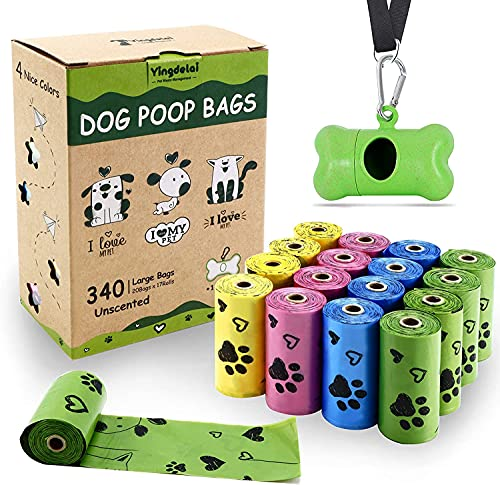 Yingdelai Biologisch abbaubare Hundekotbeutel 340 Beutel Haustierabfallsäcke mit 1 Spender, Tropfensichere und geruchsneutrale Hundetaschen