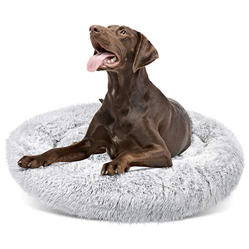 DELOMO Pet Bed for Extra Large Dog, Dog Furry Bed, Self-Warming Pet Cushion Bed, Raised Pet Bed for Dogs&Cats, Washable Pet Bed with 2 Cover for Cleaning, XL, 45×45 inches