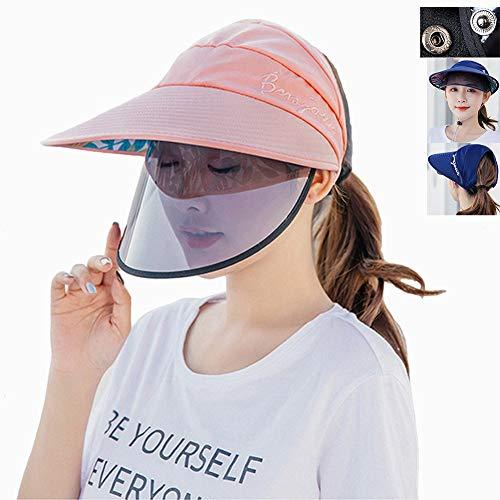 Huiit Señoras Sombrero para El Sol Mujeres Sombrero De ala Grande Pliegue Enrollable Gorra De Playa UV Anti-Saliva Protección,Rosado,One Size
