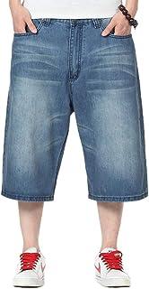 IDEALSANXUN Mens Summer Casual Plus Size Loose Fit Jeans Denim Shorts