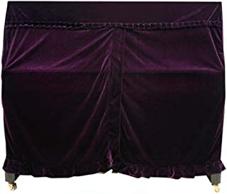 MXK Thickened Pleuche Full Piano Cover + Piano Bench Cover/Single Stool Covers Dust Cloth for Upright Piano Pleated Edge Decoration Cover Towel,118-133 (Color : Purple, Size : 155x38x127cm+37x77cm)