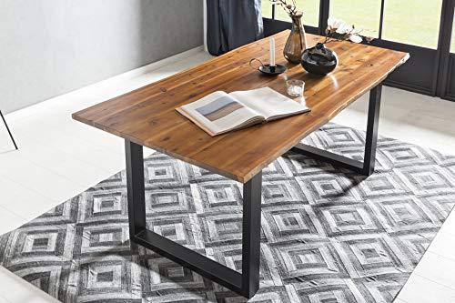 SalesFever Esstisch mit Baumkante aus massivem Akazienholz Cognac Cognac/Schwarz, 120 x 80 cm
