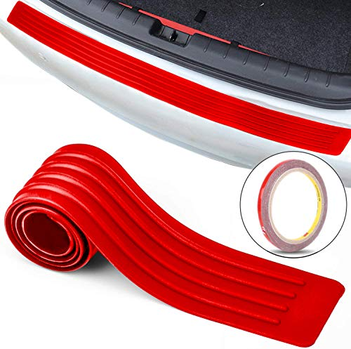 Car Rear Bumper Guard Protector Anti-Collision Patch Anti-Scrape Rubber Universal Trunk Door Entry Guards for Most Cars Non Slip Red with Tape 35 inch