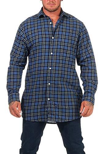 Jack Gordon Herren Flanell Hemd Langarm kariert Arbeitshemd - auch in Übergrössen erhältlich - 8124, Farbe:blau, Größe:43-44