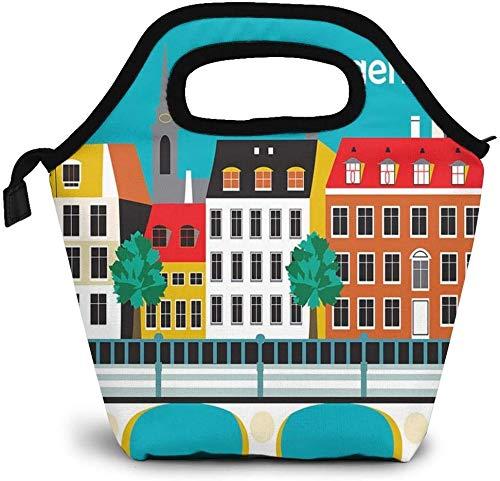 Retro Travel Poster Copenhagen Denmark Print Insulated Lunch Bag Custom Bento Box Picnic Cooler Portable Handbag Lunch Tote Bag for Women Girl Men Boy