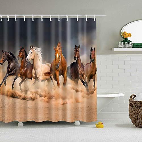 Boyouth Duschvorhänge mit Pferde-Motiv, Digitaldruck, für Badezimmer-Dekoration, Polyester, wasserdichter Stoff, mit 12 Haken, 178 x 178 cm, mehrfarbig