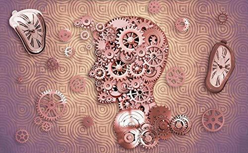Papel Pintado Pared 3d Salon Dormitorio Decoración de Pared Reloj De Engranajes Estilo Industrial Fotomurales Decorativos Murales Moderna Pared Papel-200cmx140cm