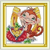 プリントクロスステッチキット漫画リトルモンキー11CTニードルワーク初心者用刺繍スターターキット40x50cmのプリント済みクロスステッチ刺繍キット