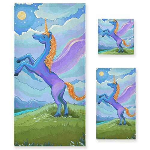 MNSRUU Juego de toallas de unicornio para pintura al óleo para mujeres y niñas, toallas de baño, toallas de mano y trapos, accesorios de baño absorbentes