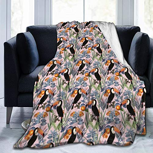 Wellay Tucan - Manta de forro polar para sofá, cama, silla, oficina, viajes, camping, moderno, decorativa, 50 x 60 pulgadas