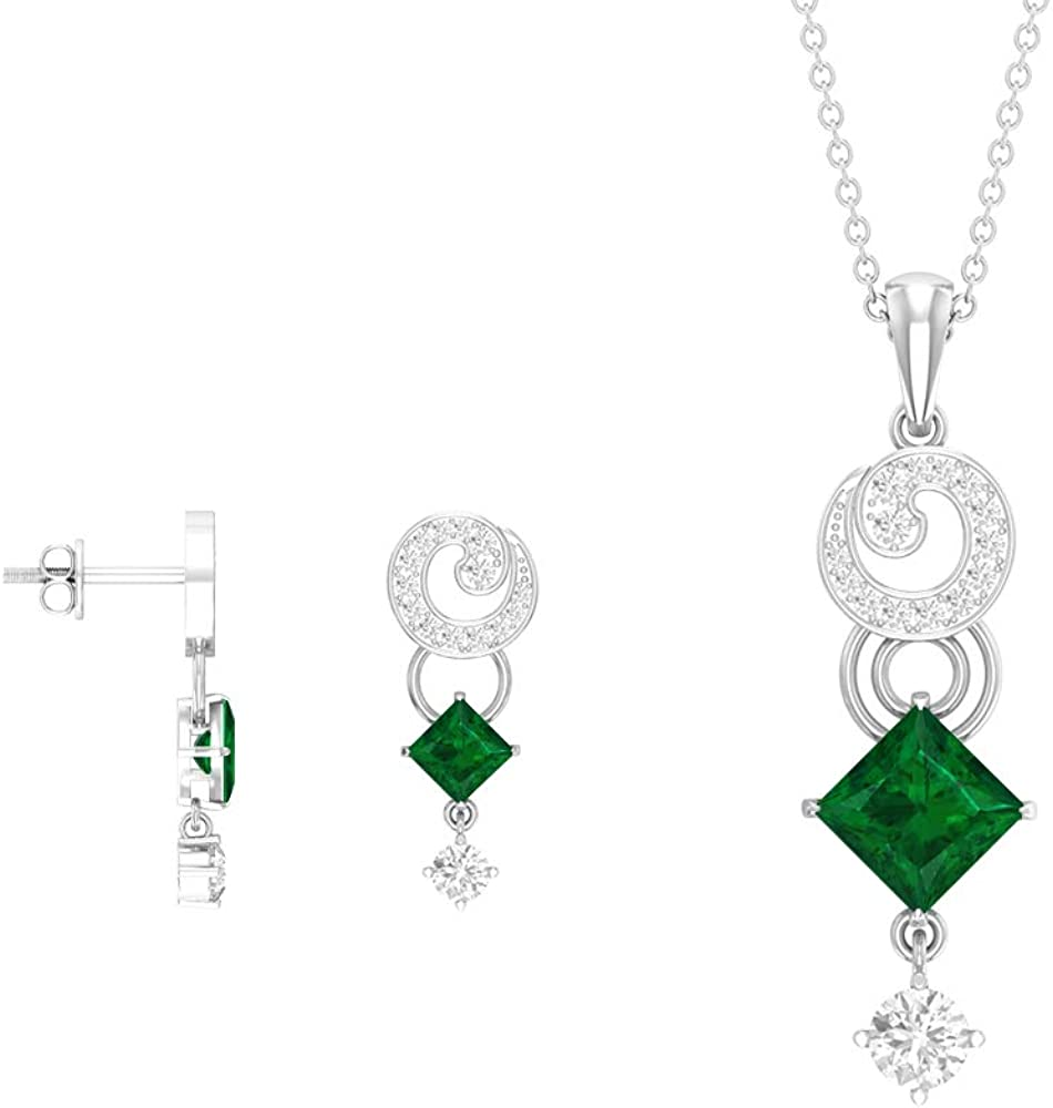 2.69 Time sale CT Princess Cut Green Emerald Sets Jewelry Gold shipfree Necklace a