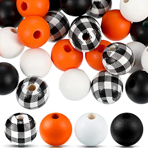 160 Pieces Craft Wood Round Beads Plaid Wood Beads Summer Christmas Wood Bead Natural Farmhouse Beads Polished Colorful Wooden Beads for Craft DIY Beads Garland (Black White Plaid, Orange)