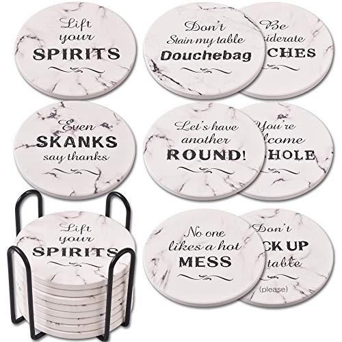 Newk Sottobicchieri per bevande (set di 8), sottobicchieri assorbenti in marmo ceramico con supporto in metallo, 4 pollici 8 citazioni divertenti diverse, adatti per tavolo in legno e tipi di tazze