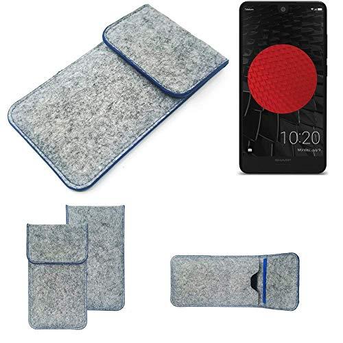 K-S-Trade Filz Schutz Hülle Für Sharp Aquos C10 Schutzhülle Filztasche Pouch Tasche Hülle Sleeve Handyhülle Filzhülle Hellgrau, Blauer Rand