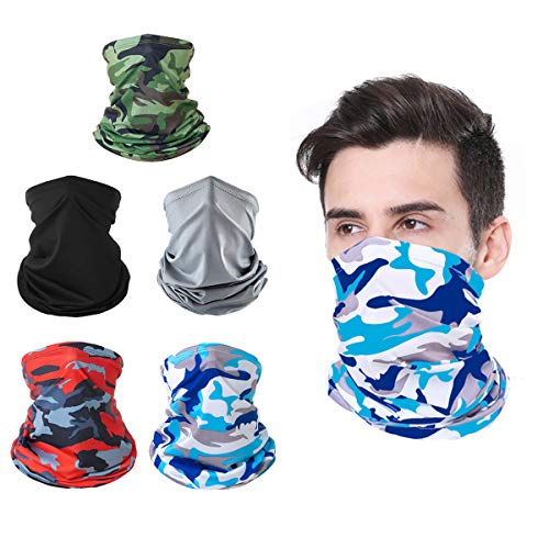 5 Pieces Sun UV Breathable Neck Gaiter Face Mask Protection Windproof Bandana Face Scarf Washable Reusable for Fishing Hunting Motorcycling
